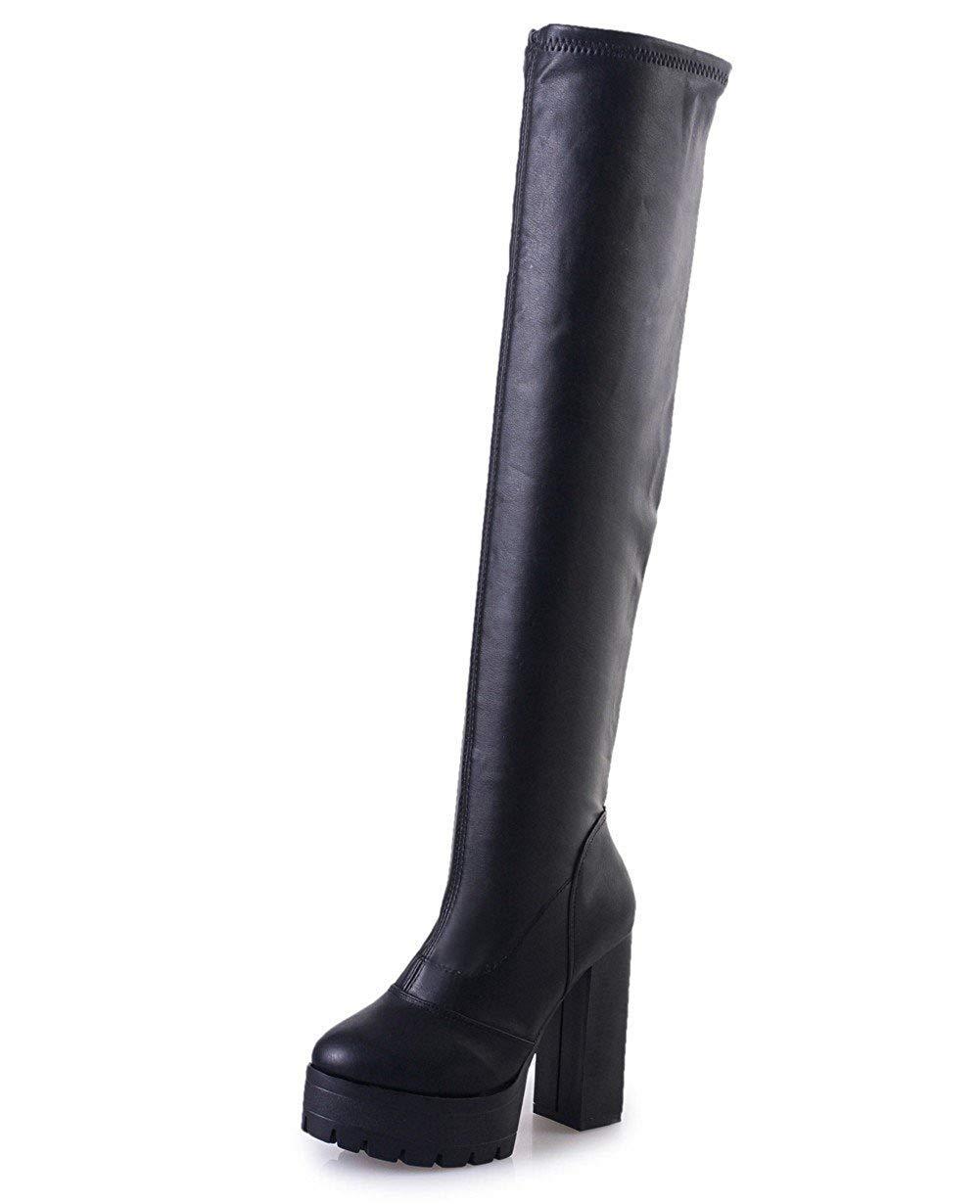 SED Ms Pu Elastic Knee Boots Stivali tacco a punta tallone tubo scarpe calde,35 Eu,Nero 35 Eu