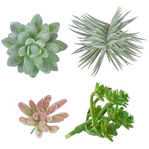 MyGift 4-Piece Assorted Mini Faux Succulent Plants (No Pot) ()