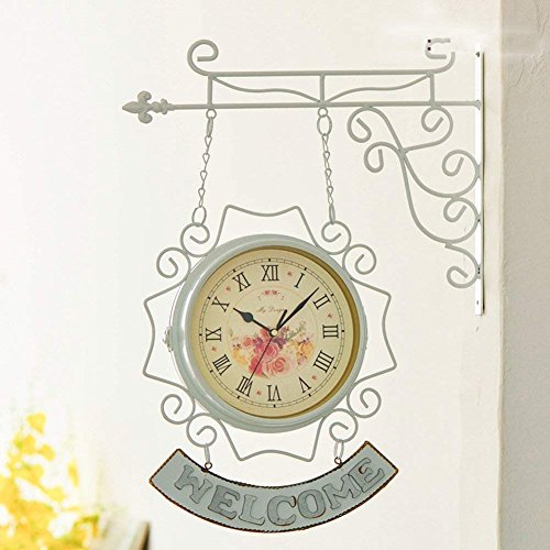 PQPQPQ grte Wall Clock Face Double Retro European Style [Iron] Creative Quartz Clock Decorative Clocks Silent Rooms-Whiteia (42 Iron Works Wall)