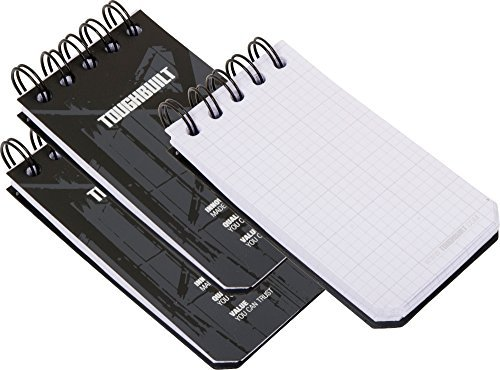 ToughBuilt - X-Small Grid Notebooks (3 Pack) - Grid Pages, Quick Access, Note Taking/Note Pad, Plastic Covers, Heavy-Gauge Steel Binding Coil, Page Size: 3.9