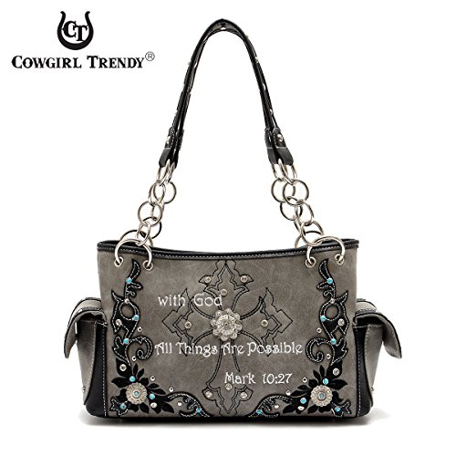 44bf09dbfb73 Western Handbag – Bible Verse Mark 10:27 Shoulderbag with ...
