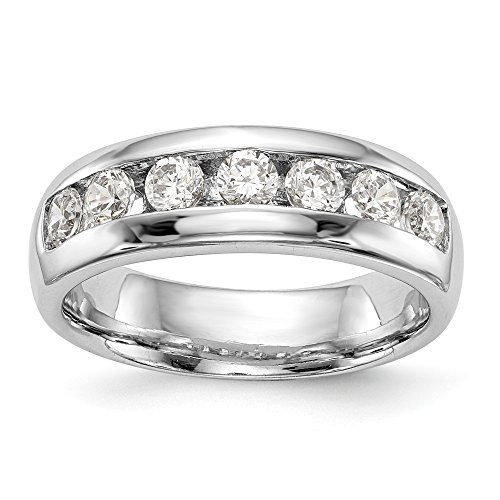 Wedding Bands Channel Bands 14K White Gold 7-Stone Diamond Channel Band Mounting Size 7