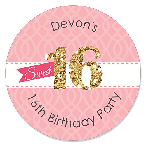 Custom Sweet 16 - Personalized 16th Birthday Party Favor Circle Sticker Labels - Set of 24