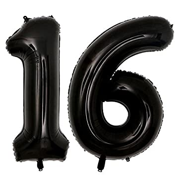 40inch Jumbo Black 16 Number Balloons For 16th Birthday Party Decorations Girl Boy Years Old