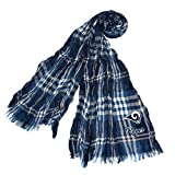 DH 70 X 25 Inches NFL Rams Crinkle Plaid Scarf, Football Themed Women Accessory Stylish Fringed Edges, Team Logo Fan Merchandise Athletic Team Spirit Fan, Navy White Blue, Polyester