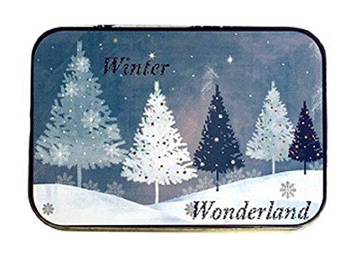 [해외]크리스마스 선물 카드 깡통 상자 푸른 겨울 원더 랜드 나무와 포 인 세 티아 3 팩/Christmas Gift Card Tin Box Blue Winter Wonderland Trees and Poinsettia 3