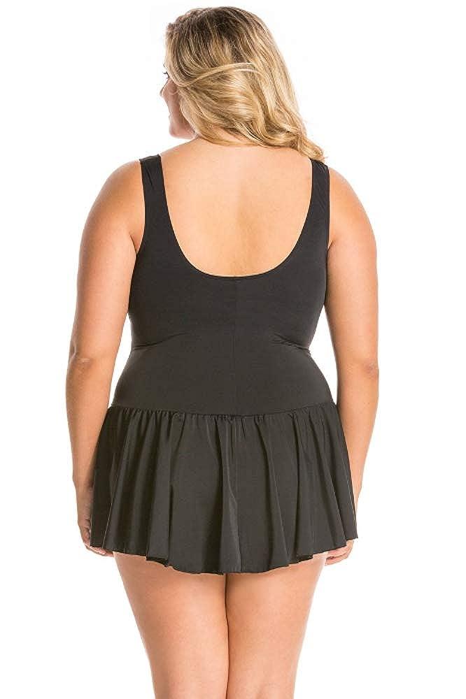 2d0f9b91529 Sporti Women's Plus Size Swim Dress, Black, Sz 20W at Amazon Women's  Clothing store: