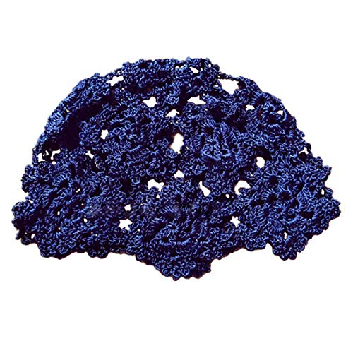 Handmade Crochet Hats for Women Summer Floral Knit Beanie Skull Cap Cotton Knitted Beanies (Navy)