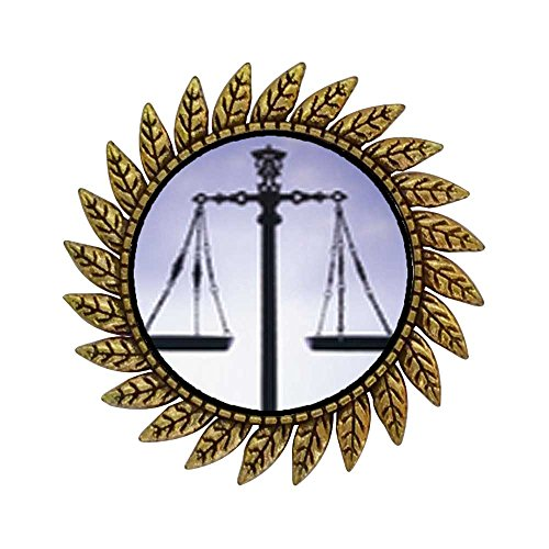 GiftJewelryShop Ancient Style Gold-Plated Scales of Law and Justice Hot Style Gear Round Pin Brooch (Justice Plated Gold)