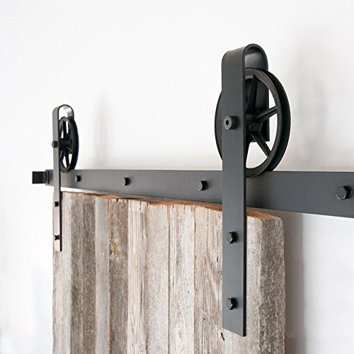 Hahaemall Antique Interior 5-16FT Big Black Spoken Wheel Sliding Barn Door Hardware Steel Wooden Door Cloest Hanging Track Kit ( 12FT Double Door Kit) by Hahaemall (Image #5)