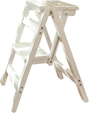 Escalera Taburete- Escalera De Madera Plegable para Taburetes con Escalones 2/3/4 Escalera Multifuncional con Asiento De Banco Portátil, Liviana (Color : Blanco, Tamaño : 2-Step): Amazon.es: Hogar