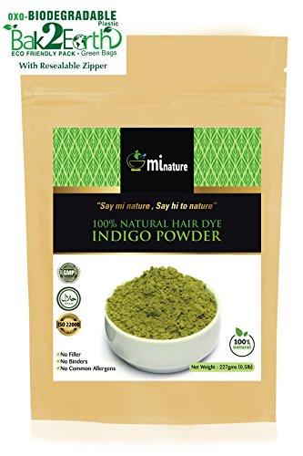 mi nature Indigo Powder, Indigofera tinctoria, 100% Natural Hair Color, Pure Indigo hair dye, for blue/black hair, 1/2 LB (227 grams) Eco Friendly Pack by mi nature