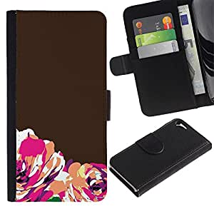 KLONGSHOP / Tirón de la caja Cartera de cuero con ranuras para tarjetas - Brown Orange Minimalist - Apple iPhone 5 / 5S