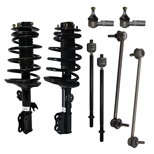Detroit Axle - New 8-Piece Front Suspension Kit - Pair (2) Front Stabilizer Sway Bar, All (4) Outer and Inner Tie Rod, Both (2) Ready Complete Struts