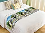 Custom Scenery Bed Runner, Open Window Panoramic View to Famous Huge Waterfall Bed Runners And Scarves Bed Decoration 20x95 inch