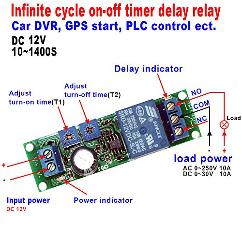 Qianson DC 5V 12V 24V Infinite Cycle Delay Timer Time Relay ON OFF Switch Loop Module 10~1400 Seconds (DC 12V)