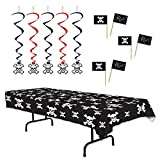 TwiceBooked Pirate Party Decoration Set - Black Table Cover, 5 Hanging Whirls 50 Cupcake Picks