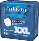 FitRight 2XL Adult Protective Underwear, Heavy Absorbency with Anti-Leak Guards, 68''-80'' (20 Count)