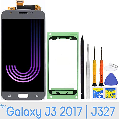 (LCD Screen Replacement Touch Digitizer Display for Samsung Galaxy J3 2017 Prime/Emerge/Eclipse J327 J327A J327V J327P J327T1 J327R4 with Repair Tools & Adhesive Tape (Gray))