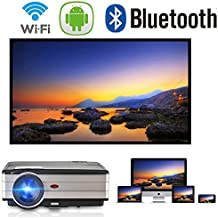 Android Projector WiFi Bluetooth Support Full HD 1080P 3500 Lumen Home Theater Projector HDMI TV AV USB Audio Port for iPhone Smartphone Video Projector for Indoor Outdoor Basement Backyard
