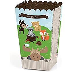 Big Dot of Happiness Personalized Woodland Creatures - Custom Baby Shower or Birthday Party Favor Popcorn Treat Boxes - Custom Text - Set of 12