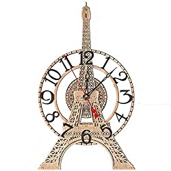 The Eiffel Tower unique HANDCRAFTED large wooden wall clock detailed scale model French home decor, wall art, unique personalized gift