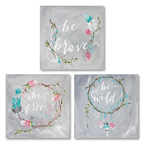 (Sagebrush Fine Art Lovely Pink, Teal and Grey Floral Ring Be Brave Be Free and Be Wild Set; Three 16x16in Fine Art Paper Giclee Prints)