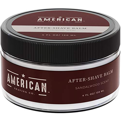 American Shaving After Shave Balm For Men (4oz) - Sandalwood Barbershop Scent - 100% Natural Moisturizing Aftershave Lotion - Best Aftershave For Men to Soothe Dry Sensitive Skin Post -