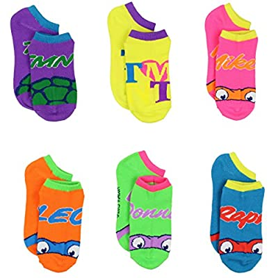 TMNT Teenage Mutant Ninja Turtles Womens Girls 6 pack Ankle Socks (Little Kid/Big Kid/Teen/Adult)