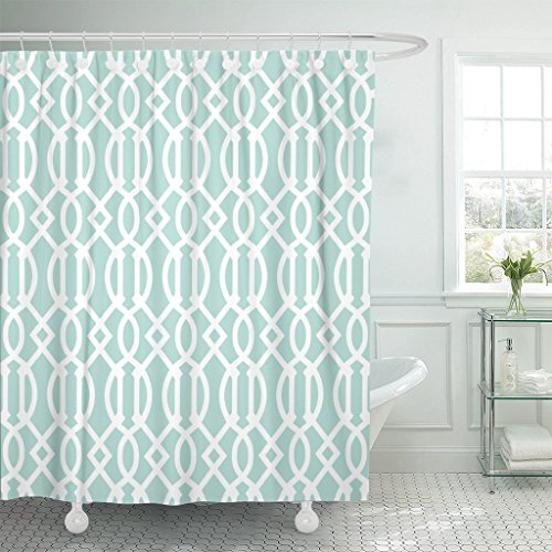 Accrocn Waterproof Shower Curtain Curtains Fabric Mint Green and White Geometric Pattern Decor Extra Long 72x84 Inches Decorative Bathroom Odorless Eco Friendly (Coral Ruffle Curtains)