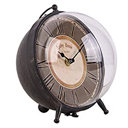 NIKKY HOME Retro Metal Round London Table Clock, Black