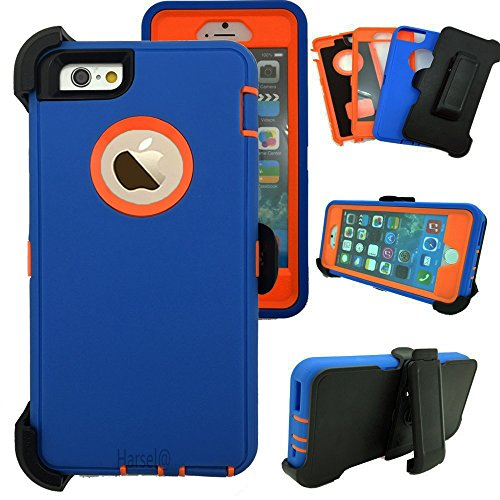 iPhone 6Plus/ 6SPlus with Belt Clip & Built-in Screen Protector Cover Harsel Heavy Duty Defender Shockproof Military Rubber Outdoor Sport Tough Armor Case for iPhone 6Plus 6SPlus (Blue Orange)