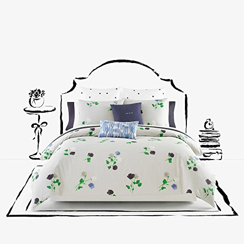 Kate Spade Willow Court Queen Full Comforter Set, Platinum Grey Green Blue Floral