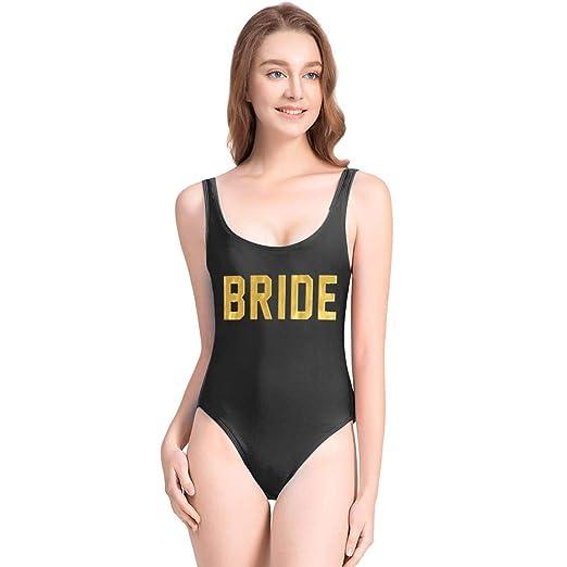 85daf09805b ZBBRDD Cute Gold Bride One Piece Swimsuit with High Cut Backless for Women Bathing  Suits Swimwear