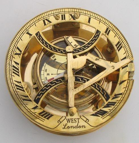 "NAUTICALMART Brass Sun Dial Compass 4"" Marine Instrument Brass Shiny Compass Round and Big - Desktop Decorative Functional Collectible Compass"