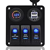 Switch Panel, FABOOD 3 Gang Waterproof Rocker Switches Panel with DC 12V Digital Voltmeter / 3.1A Dual USB and 3 LED Lights Switchs for Marine Boat Car RV