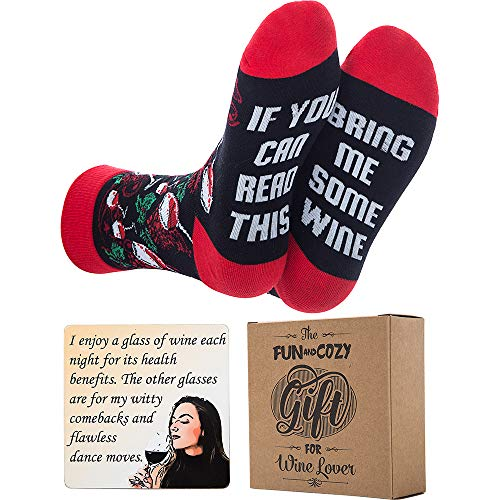 Wine Gifts for Women - Christmas Gifts for Mom, Her, Stocking Stuffers - Gift Ready Packaging - Funny Women Gifts If You Can Read This Socks Bring Me Some Wine Socks, Wine Coaster (Christmas Her For Gift)