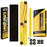 ANGLE-IZER TILE TEMPLATE TOOL WITH USER GUIDE EXTRA SET OF SCREWS - Angleizer Ruler With Construction Protractor Design, Quick User Guide, Construction Pencil, Extra Set Of (4) Knobs, and Carrying Bag