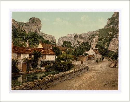 The village and Lion Rock Cheddar England, c. 1890s, (L) Library Image