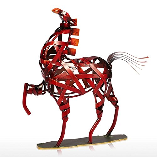 Metal Sculpture Modern - Tooarts Metal Weaving Horse Modern Sculpture Home Decoration Furnishing Handicrafts