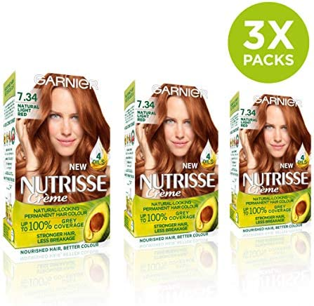 Garnier Nutrisse 7.34 - Tinte para el cabello permanente, Light Natural Red