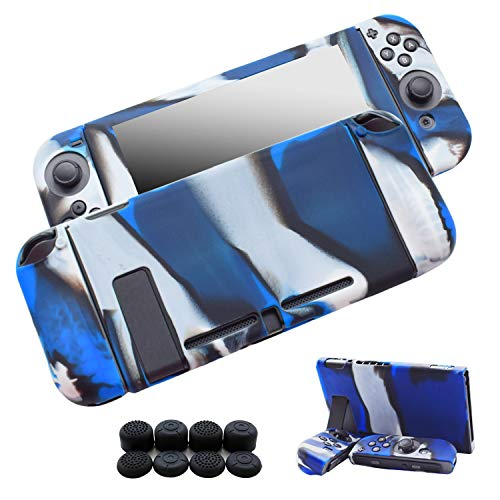 Hikfly 3pcs Silicone Gel Non-Slip Cover Skin Protector Case Kits Compatible for Nintendo Switch Consoles and Joy-Con Controllers with 8pcs Silicone Gel Thumb Grips Caps(Blue Camouflage)
