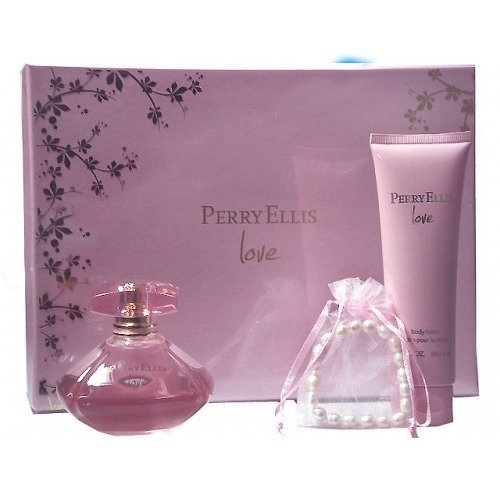 Perry Ellis Love Gift 3Pcs. [3.4Oz. Eau De Parfum Spray+3.0 oz. Body Lotion+Freshwater Cultured Pearl Bracelet ] Women (Perry Ellis Love)