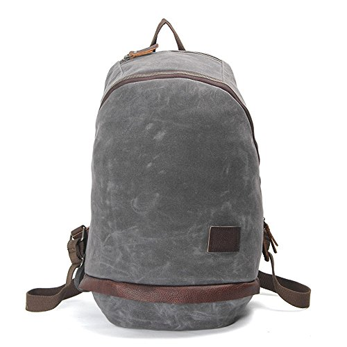 Mochila de lona de algodón exterior vintage, Viajes Trekking Camping Mochila Pack, Gran mochila casual, Cera impermeable, impermeable y transpirable, resistente al desgaste College poliéster estilo po gray