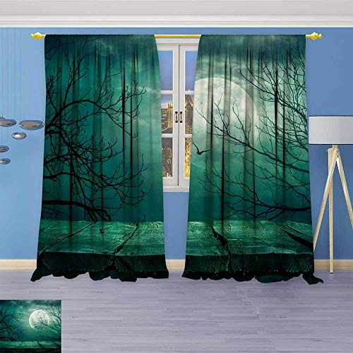 Window Curtain Fabric Halloween Drapes for Living Room 108W x 108L Inch