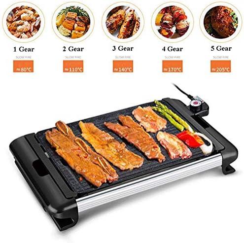 Métier BBQ Grill Teppanyaki (gril électrique, 40 x 25 cm amovible grill de table anti-adhésive - plaque), 2400W réglage de température variable, égouttoir DYWFN