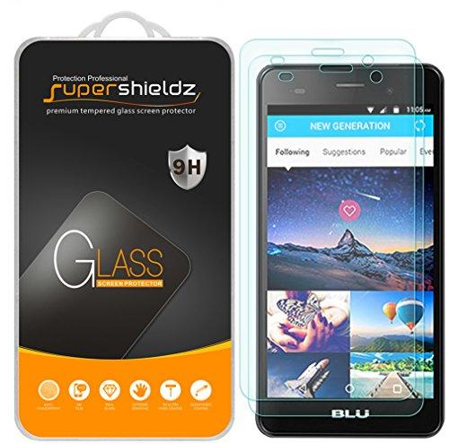 [2-Pack] Supershieldz for BLU Dash X2 Tempered Glass Screen Protector, Anti-Scratch, Anti-Fingerprint, Bubble Free, Lifetime Replacement