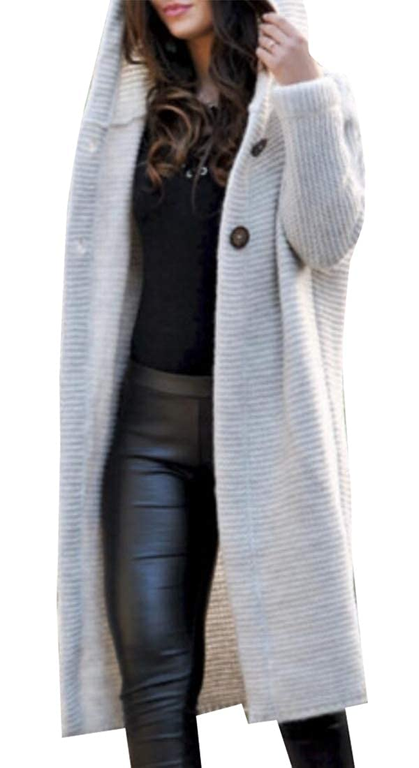 e2700ae767fb43 hower Womens Fashion Solid Color Cable Knit Sweater with Button Long Hooded  Poor Coat at Amazon Women's Clothing store: