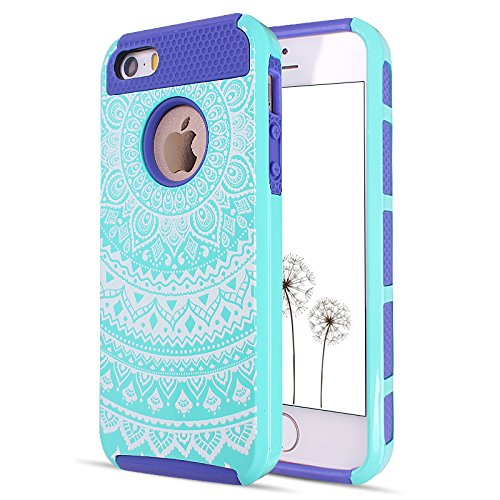 Totem Pattern Case for iPhone 5/5S/SE (Green/Blue) - 1