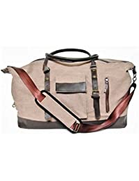 Duffle Bag, Canvas leather, large, Carryon Weekender Travel bag Men Women shoulder strap, luggage, Nylon Lining, GreenCoast